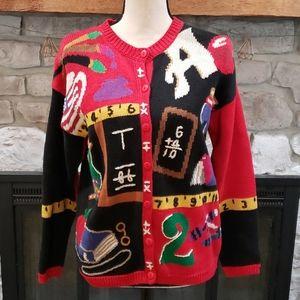Vintage Teacher Math Art Cardigan Sweater S